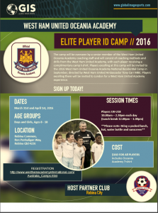 West Ham United Oceania Academy 2 day Camp.  Book your kids in today.