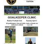 Full Day Goalkeeping Clinic – April 5
