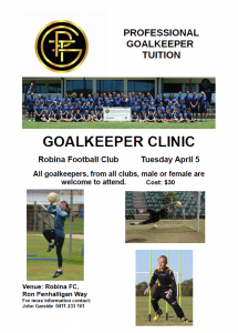 Full Day Goalkeeping Clinic – April 5